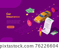 Car insurance isometric landing page with auto and driver 76226604
