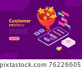 Customer review isometric landing page with funnel 76226605