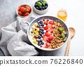 Yogurt granola bowl with berries 76226840