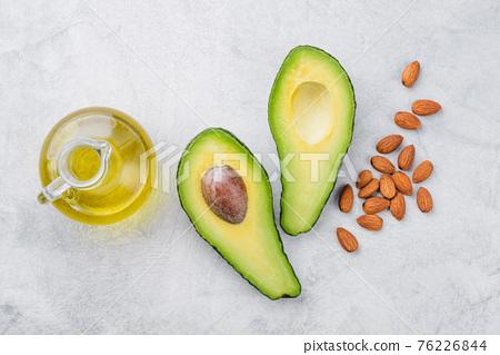 Avocado almond oil top view 76226844