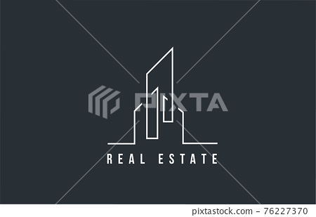 design of real estate or property business icon logo. Template of a building or skyscraper with line design and simple idea 76227370
