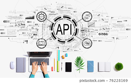 API - application programming interface concept with person using a laptop 76228169