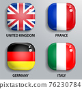 Glass buttons flags of European states 76230784