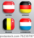 Glass buttons flags of European states 76230787