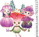 Cute floral character composition watercolor 76232217
