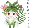 Cute floral character composition watercolor 76232221
