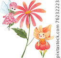 Cute floral character composition watercolor 76232223