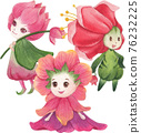 Cute floral character composition watercolor 76232225