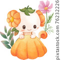 Cute floral character composition watercolor 76232226