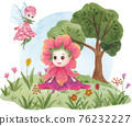 Cute floral character composition watercolor 76232227