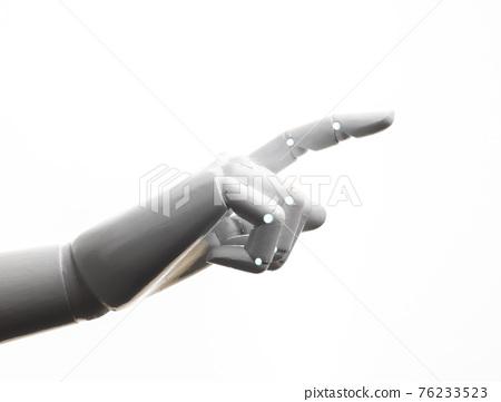 White robot hand finger point 76233523