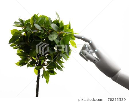 robot arm with green leaves 76233529
