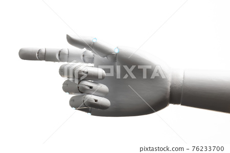 White robot hand finger point 76233700