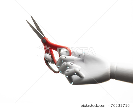 Robot hand hold pair of scissors 76233716