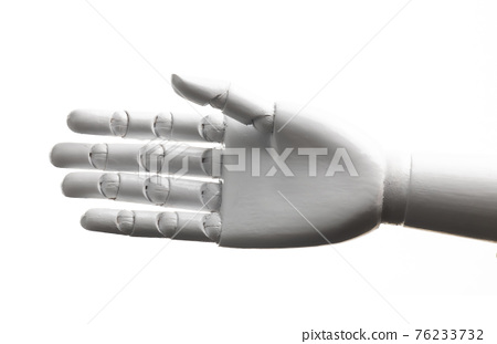 White robot hand open isolated 76233732
