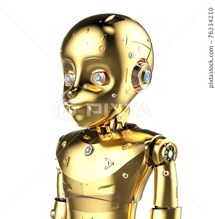 Golden robotic boy isolated 76234210