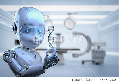 robotic boy holding dna helix 76234262