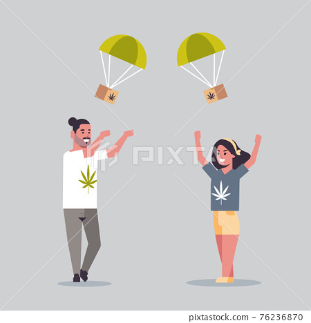 couple catching cannabis parcel box falling down with parachute from sky marijuana air mail express delivery drug consumption concept full length flat 76236870