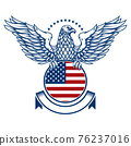 emblems with eagles and usa flags. Design element for poster, emblem, sign, logo, label. Vector illustration 76237016