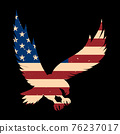 Eagle silhouette with usa flag background. Design element for poster, emblem, sign, logo, label. Vector illustration 76237017