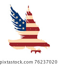 Eagle silhouette with usa flag background. Design element for poster, emblem, sign, logo, label. Vector illustration 76237020
