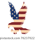 Eagle silhouette with usa flag background. Design element for poster, emblem, sign, logo, label. Vector illustration 76237022
