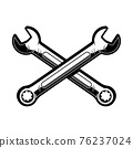 Crossed wrenches. Design element for poster, emblem, sign, logo, label. Vector illustration 76237024