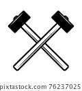 Crossed hammers. Design element for poster, emblem, sign, logo, label. Vector illustration 76237025