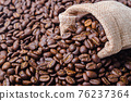Coffee beans in sack bag. 76237364