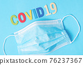Disposable face mask with letters and text corona virus. 76237367
