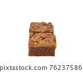 Toffee cake, a close up of homemade caramel nut chocolate cake bakery isolated on white background. 76237586