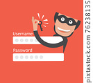 Hacker Breaks Into Data Theft Vector Illustration. 76238135