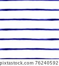 Blue Watercolor seamless stripes pattern background. Dark royal blue ink stripes thin horizontal on 76240592
