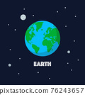 Earth and moon on space background 76243657