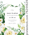 Vector tender floral wedding invite, save the date card, banner, design. Greenery forest fern leaves, eucalyptus branches, green leaves, light yellow roses, white camellia flower bouquet frame, border 76244629