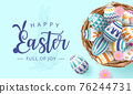 Happy Eater banner with colourful painted eggs in nest on pink background 76244731