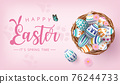 Happy Eater banner with colourful painted eggs in nest on pink background 76244733