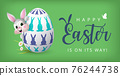 Happy Easter Banner with Bunny wearing face mask and Colourful Painted Egg. Vector 76244738