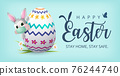 Happy Easter Banner with Bunny wearing face mask and Colourful Painted Egg. Vector 76244740