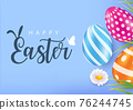 Happy Easter Card with colourful eggs, Vector 76244745