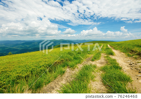 country road through alpine meadow of carpathian mountain. beautiful nature landscape in summer. scenery with open view in to the distant ridge and valley. wonderful sky with clouds above the horizon 76246468