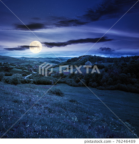 carpathian countryside in spring at night. beautiful rural landscape in mountain. wet grassy meadow in full moon light. road winding through valley to village. distant ridge in the clouds 76246489