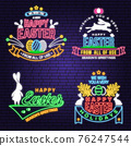We wish you a very happy easter neon card, badge, logo, sign. Vector Neon typography design with rabbit and hand eggs. Modern minimal style. Easter Egg Hunt 76247544