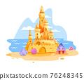 Sand castle vector illustration, summer beach cartoon clipart isolated on white, ocean, sky, clouds 76248345