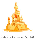 Sand castle vector summer beach cartoon illustration isolated on white, yellow big shore sculpture 76248346