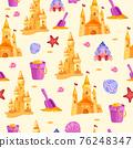 Sand castle vector beach seamless pattern, toy bucket, shovel, red star, cute crab, shells 76248347