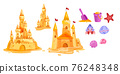Sand castle vector beach isolated illustration collection, toy bucket, shovel, red star, cute crab 76248348
