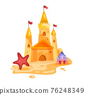 Sand castle vector illustration, toy fortress cartoon summer beach sculpture, crab, red star, flags 76248349