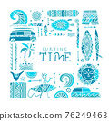 Surfing background. Tribal elements for your design 76249463