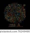 World autism awareness day. Art concept tree. Symbol of autism. Sketch for your design 76249466